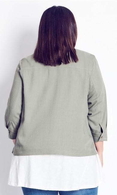 Linen Mix Jacket - olive