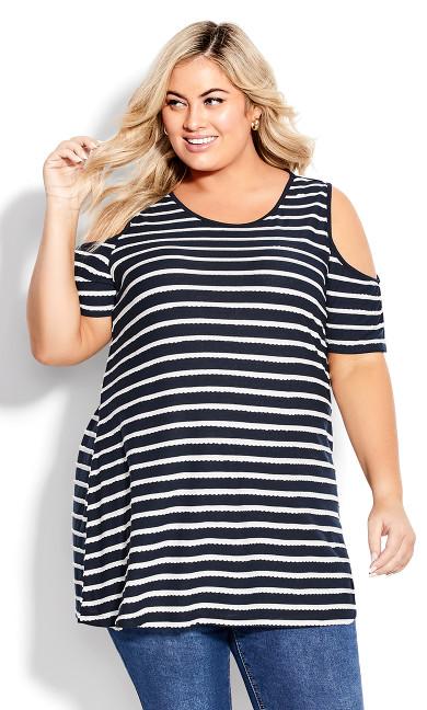 Plus Size Stripe Cold Shoulder Tunic - navy