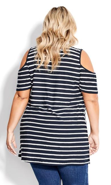 Stripe Cold Shoulder Tunic - navy