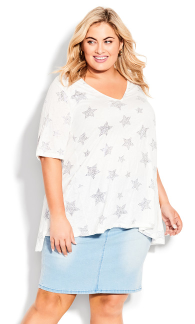 Foil Star Tunic - white