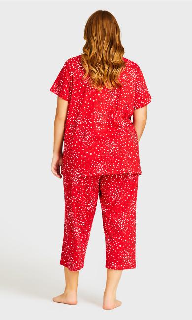 Beautiful Tie Waist Sleep Capri - red star