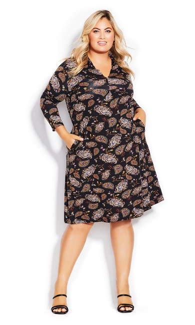 Lylah Print Dress - black
