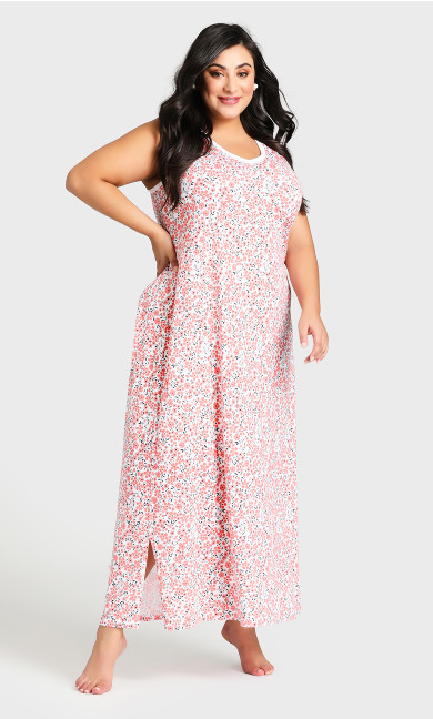 Plus Size Ditzy Print Maxi Sleep Dress -