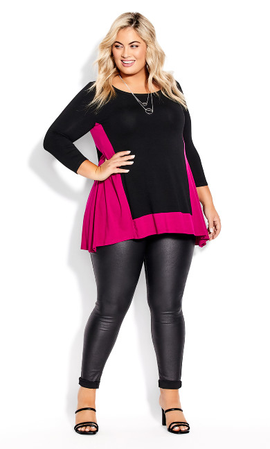Elsa 3/4 Sleeve Tunic - black berry