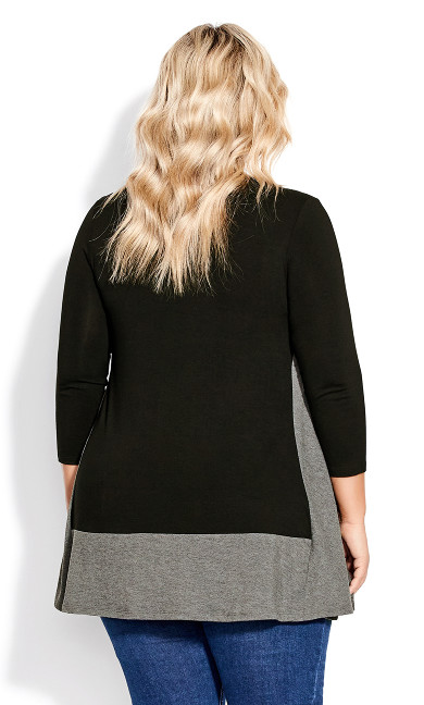 Elsa 3/4 Sleeve Tunic - black charcoal