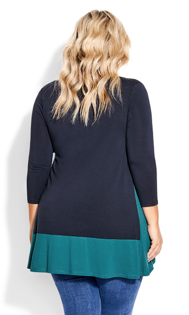 Elsa 3/4 Sleeve Tunic - navy teal