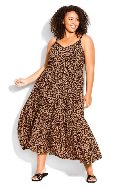 3 Tier Print Dress - leopard