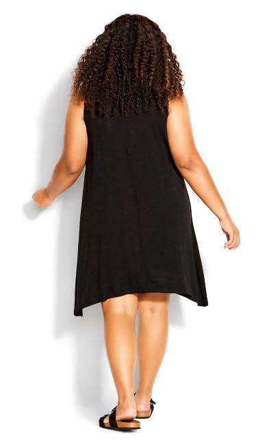 Aria Pleat Dress - black