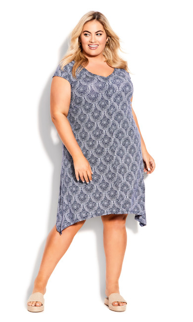Knit Print Dress - blue tile