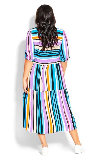Majesty Midi Dress - multi stripe