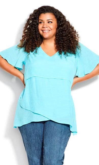 Mylah Fashion Layered Tunic - aqua
