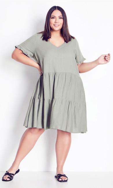 Plus Size Love Tier Mini Dress - khaki
