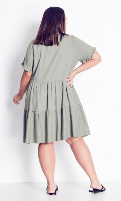 Love Tier Mini Dress - khaki