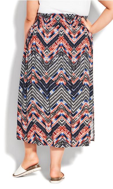 Ida Shirred Waist Skirt - navy print