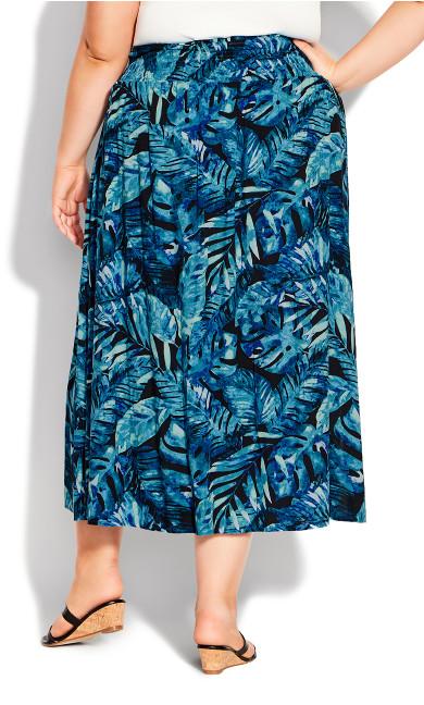Ida Shirred Waist Skirt - blue palm