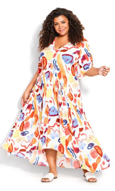 Val Crinkle Print Dress - ivory