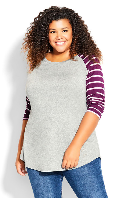 Plus Size Stripe Sleeve Top Gray Plum Lilac
