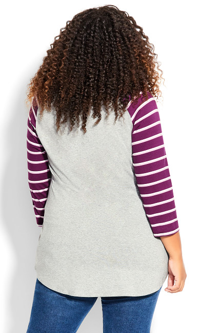 Stripe Sleeve Top - gray
