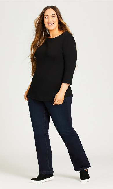 Plus Size Curvy Bootcut Jean With Tummy Control - dark wash