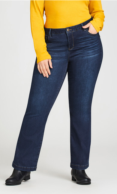 Curvy Bootcut Jean With Tummy Control Mid Wash - petite
