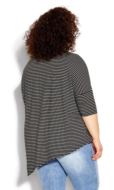 Too Easy Stripe Top - black