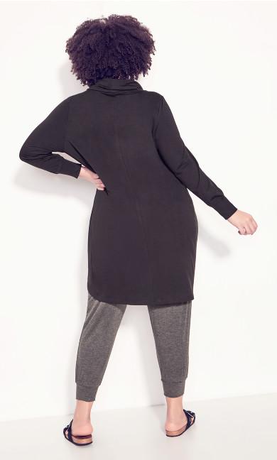 Cowl Cross Front Tunic - black