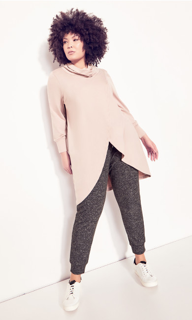 Plus Size Cowl Cross Front Tunic soft pink