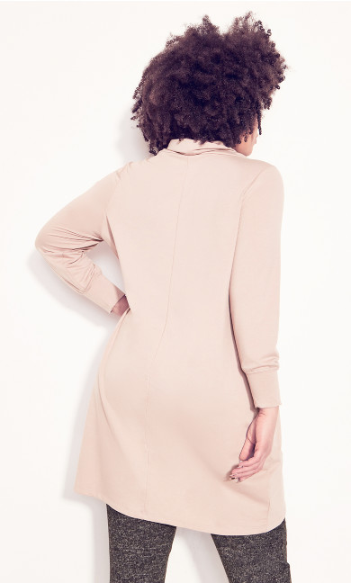 Cowl Cross Front Tunic - soft pink
