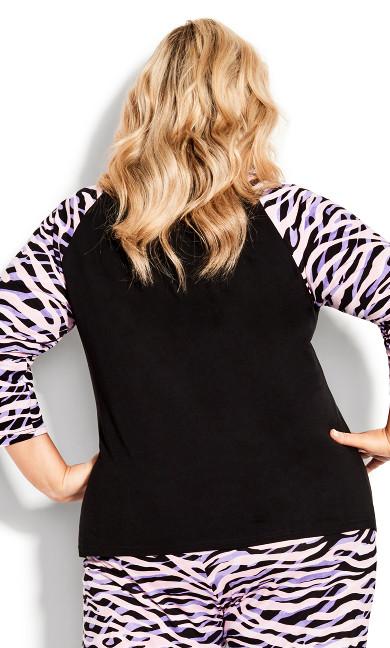 Raglan 3/4 Sleeve Print Sleep Top - black zebra