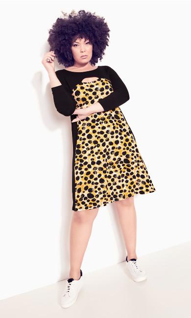 Mara Cut Out Dress - gold spot