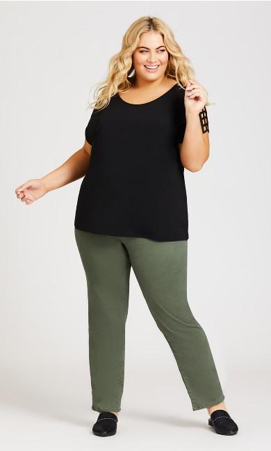 Plus Size 5 Pocket Straight Leg Pant - olive
