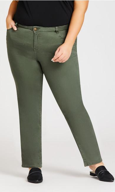 5 Pocket Straight Leg Pant Olive - petite