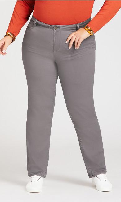 5 Pocket Straight Leg Pant Gray - petite