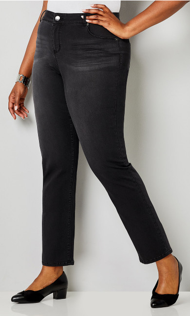 Plus Size Luxe Sateen 5 Pocket Jean in Black