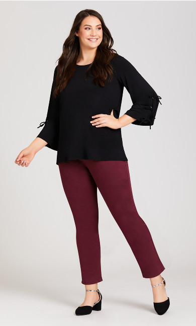 Plus Size Luxe Sateen Jean Red - average
