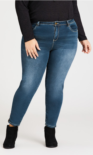 Wanna Betta Butt Zipper Hem Jean Mid Wash - average