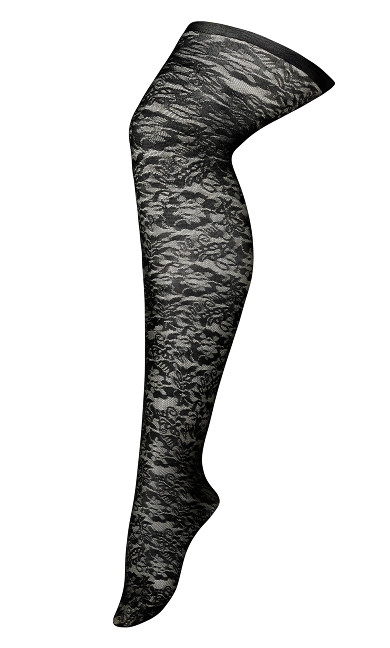 Floral Lace Tights - black