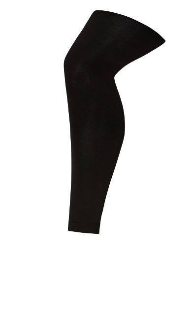 Plus Size Fleece Lined Footless Tights - black