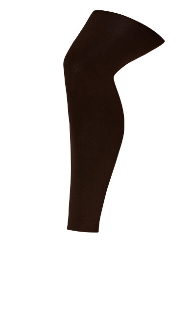 Plus Size Fleece Lined Footless Tights - brown
