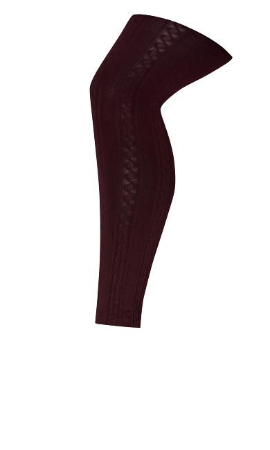 Plus Size Cable Knit Legging - burgundy