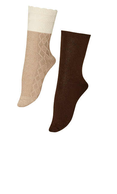 Plus Size Diamond Socks 2 Pack - beige