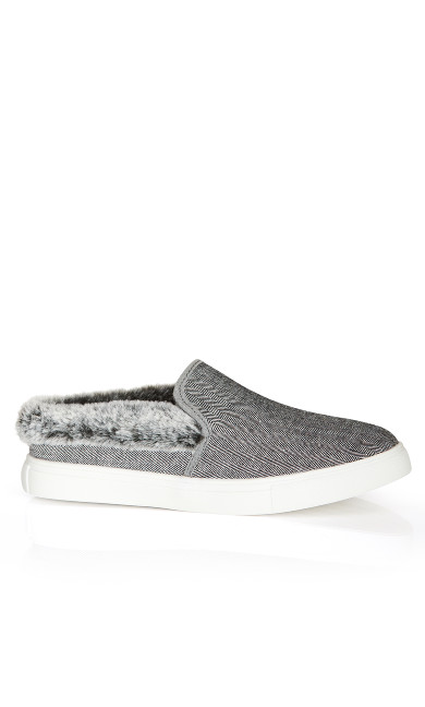 Plus Size Markie Tweed Fur Trim Slip On  - gray