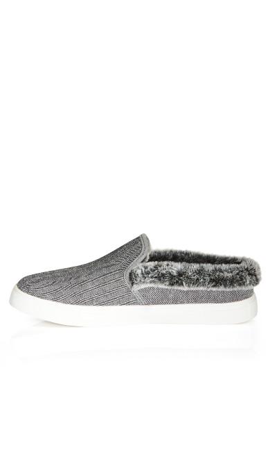 Markie Tweed Faux Fur Trim Slip On  - gray