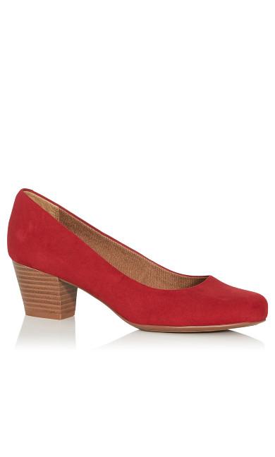 Plus Size Aja Faux Suede Block Heel Pump - red