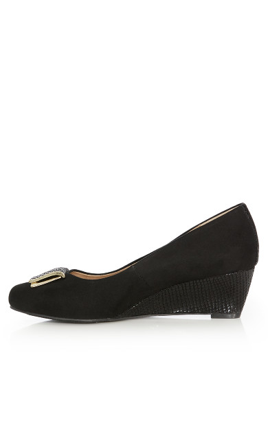 Sara Buckle Wedge Heel - black