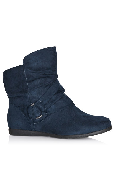 Plus Size Serena Faux Suede Side Buckle Bootie - navy