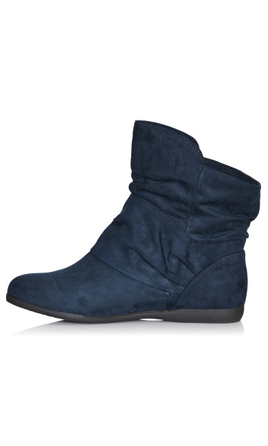 Serena Faux Suede Side Buckle Bootie - navy