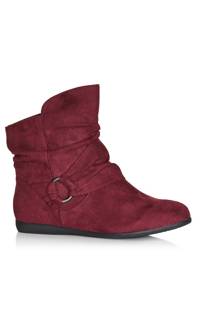 Plus Size Serena Faux Suede Side Buckle Bootie - wine
