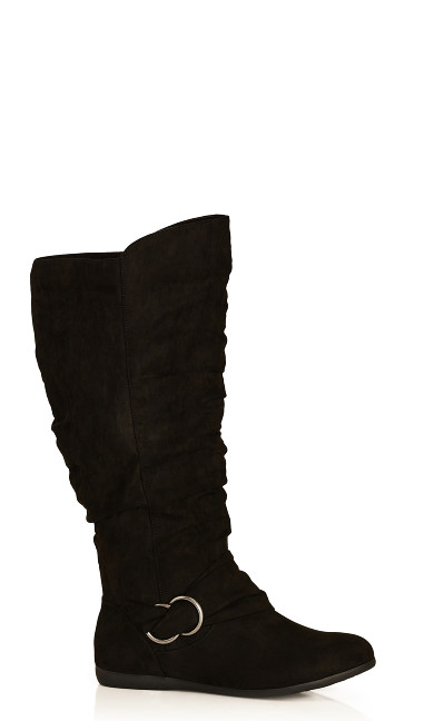 Plus Size Sasha Faux Suede Ruched Tall Boot - black