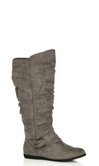 Plus Size Sasha Faux Suede Ruched Tall Boot - gray